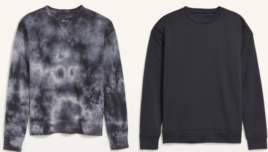 two styles of men's sweatshirts