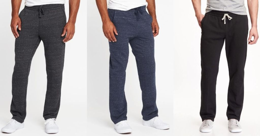three men wearing sweatpants