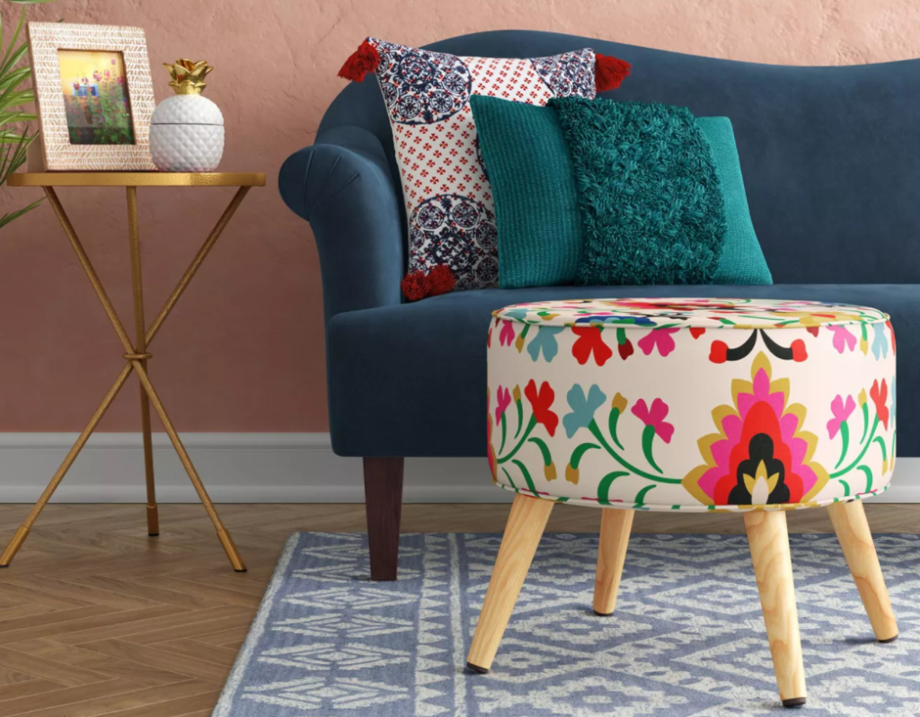 Opalhouse Ottoman by a couch