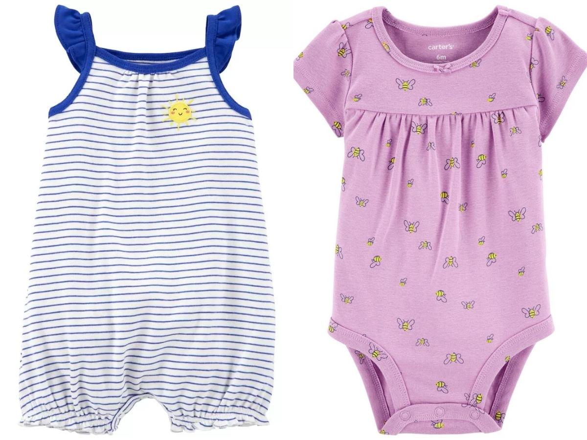 oshkosh baby girls snap up romper and bumble bee bodysuit
