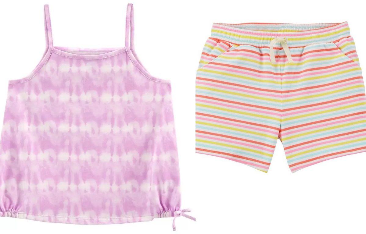 oshkosh girls tie dye tank top and rainbow striped shorts