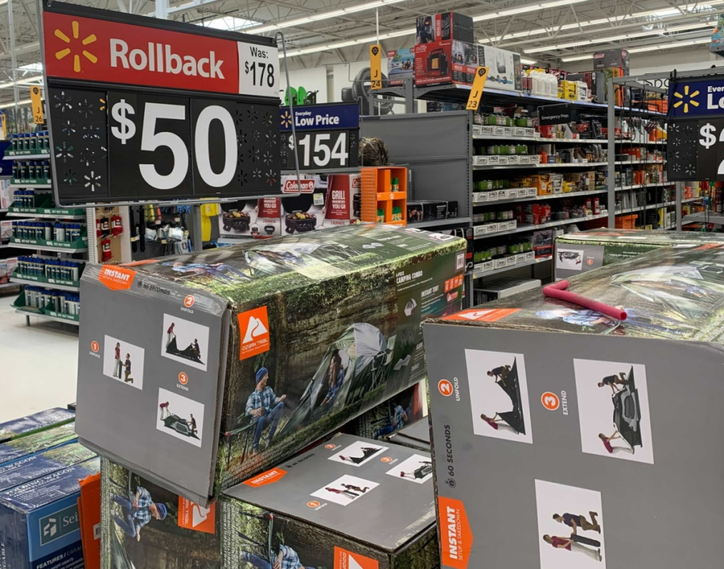 Ozark Trail brand camping bundle on display on clearance in-store