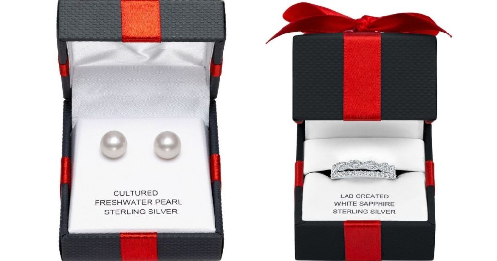 Pearl Earrings and Ring in Gift Box