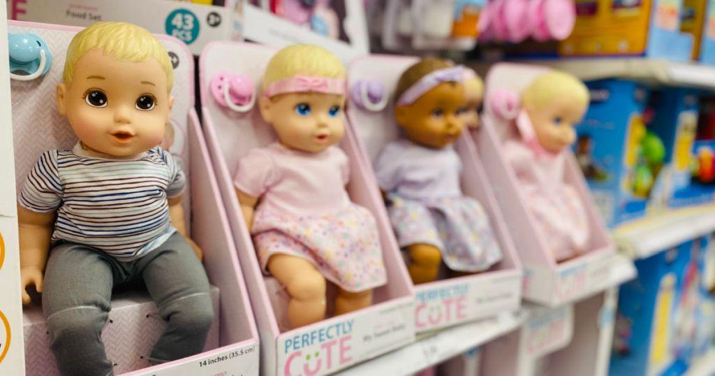baby dolls on shelf