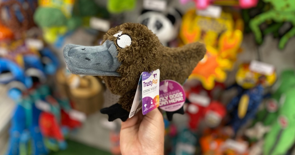 hand holding brown platypus toy