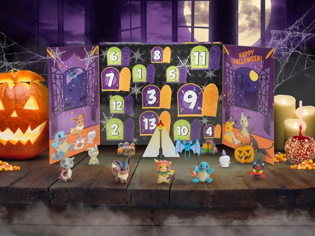 pokemon halloween calendar with figures next to box