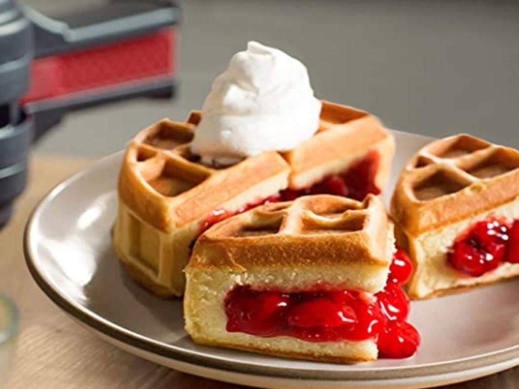waffle stuffed with cherry filling from presto stuffed waffle maker