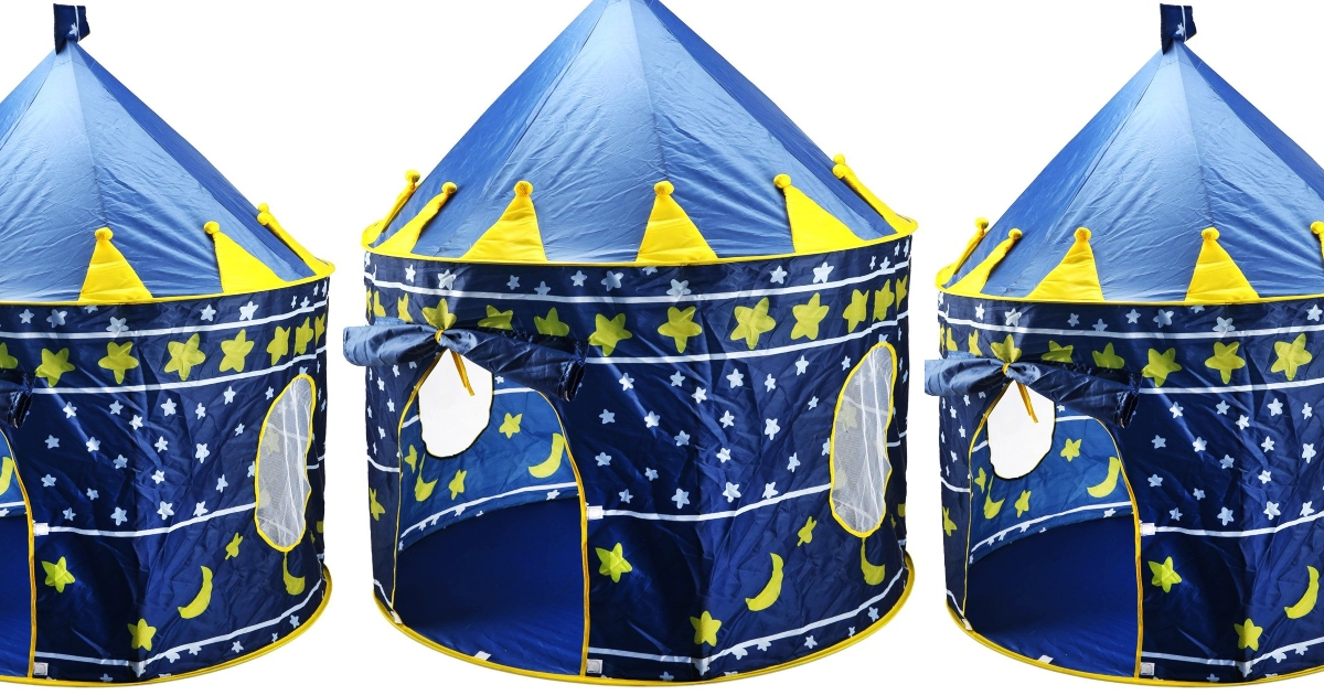 Three blue and yellow kids foldable tents