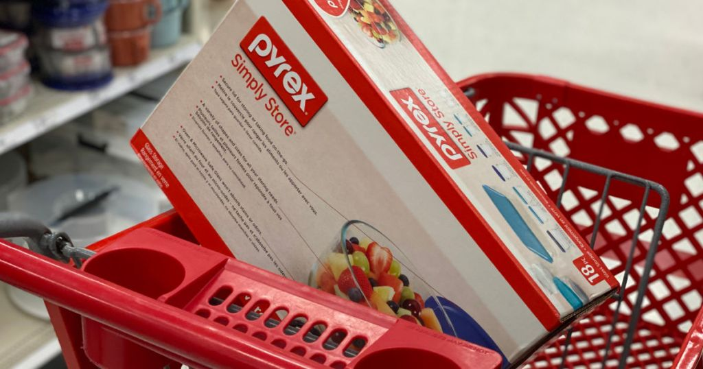 glass tupperware containers in red cart