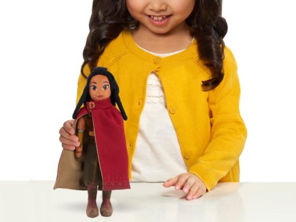 raya and the last dragon plush with girl playing
