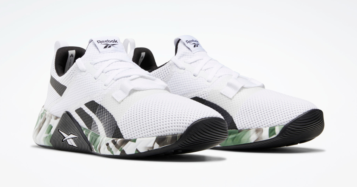 pair of men's white, black and green sneakers