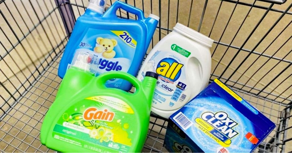 large bottles of laundry products in shopping cart