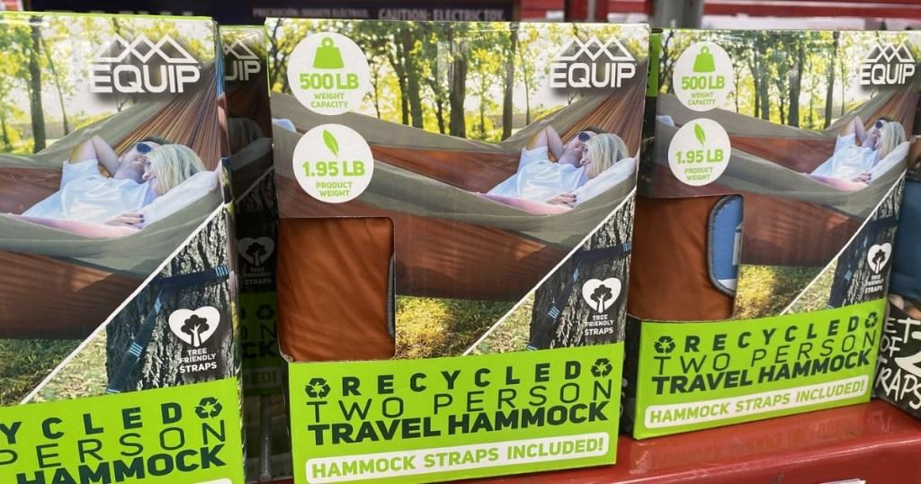 three boxes of hammocks from sam's club on shelf