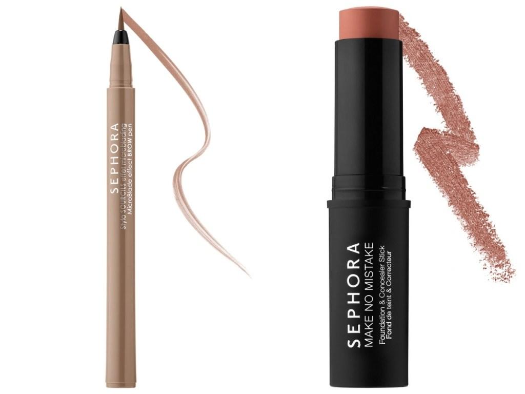 sephora microblade eyebrow pen and concealer/foundation stick