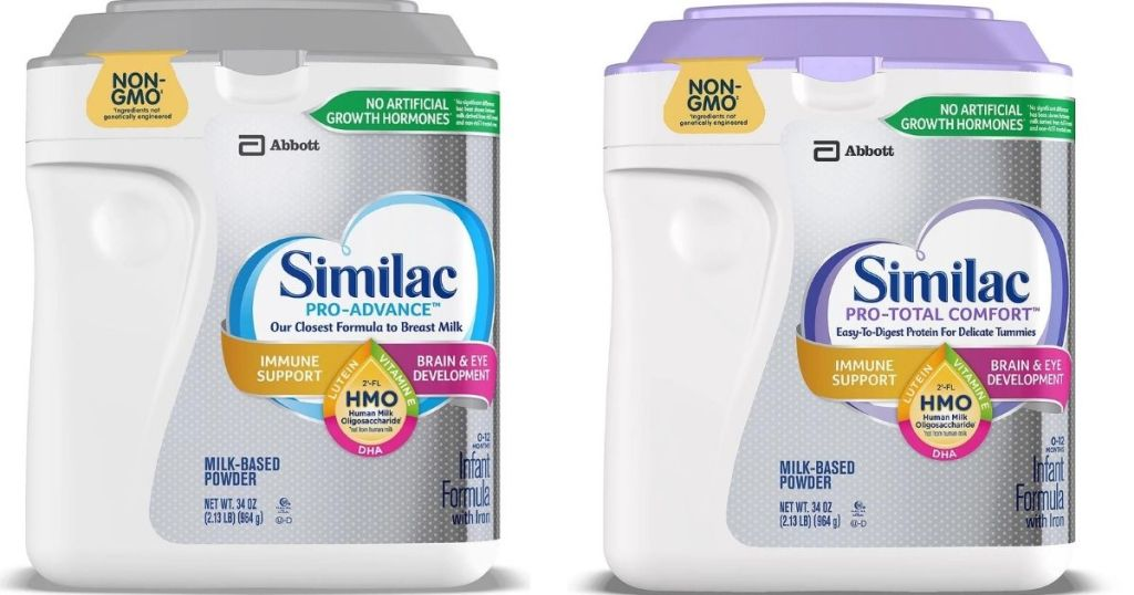 two containers of Similac Formula