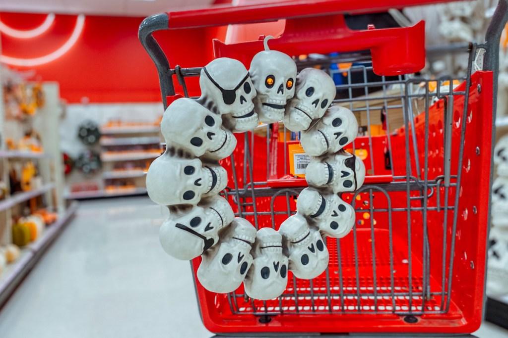 Skull with Jewel Eye halloween wreath on target shopping cart