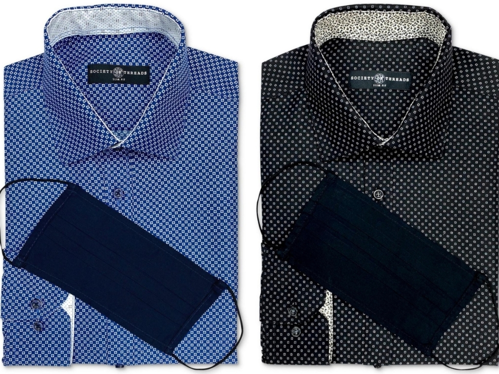 Society of Threads Men's Slim-Fit Dress Shirt w/ Mask