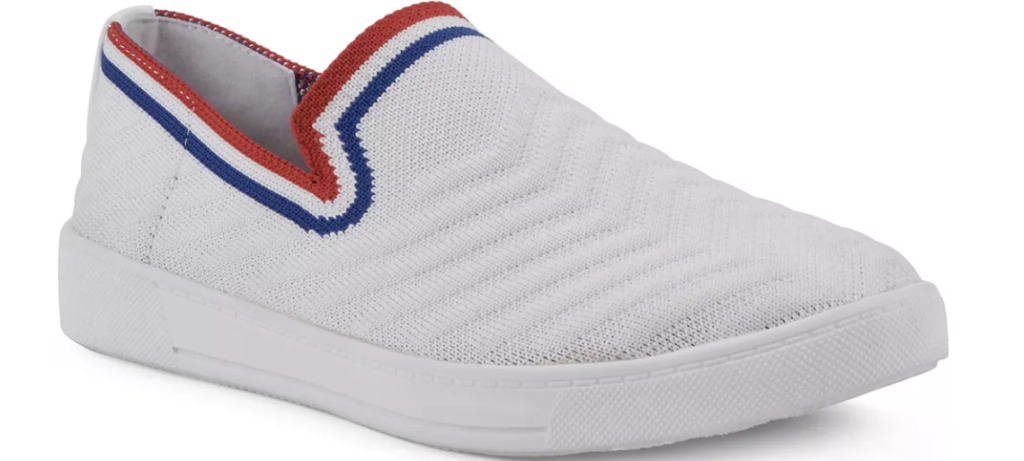 white, red and blue sneaker