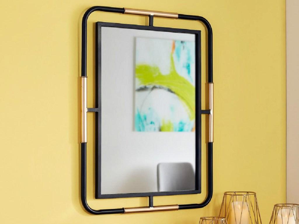 StyleWell Medium Rectangle Black & Gold Modern Accent Mirror