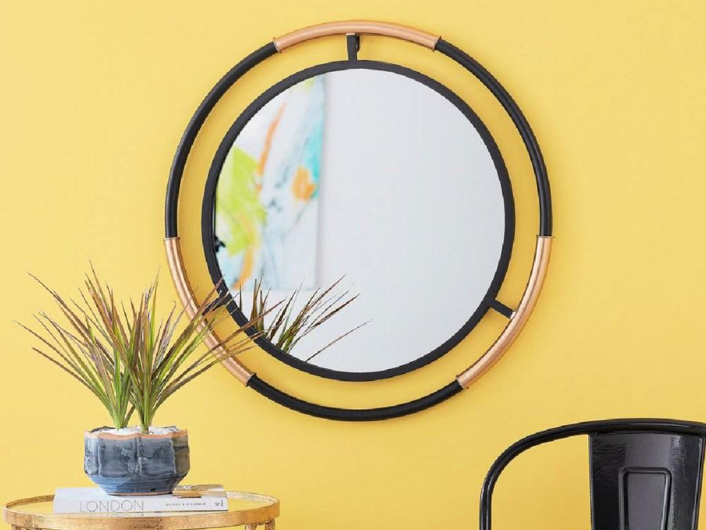 StyleWell Medium Round Black & Gold Modern Accent Mirror