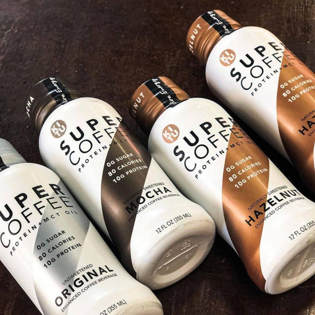 row of Super Coffee drinks