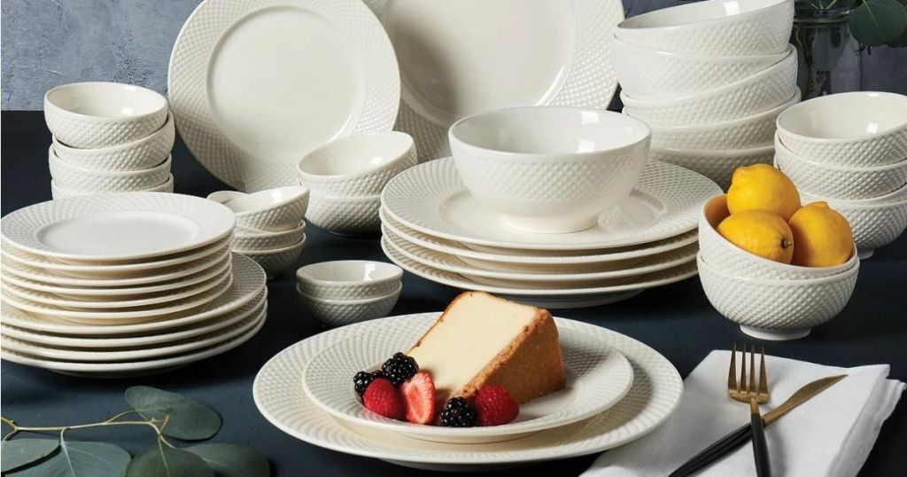 dinnerware set with a slice of cheesecake