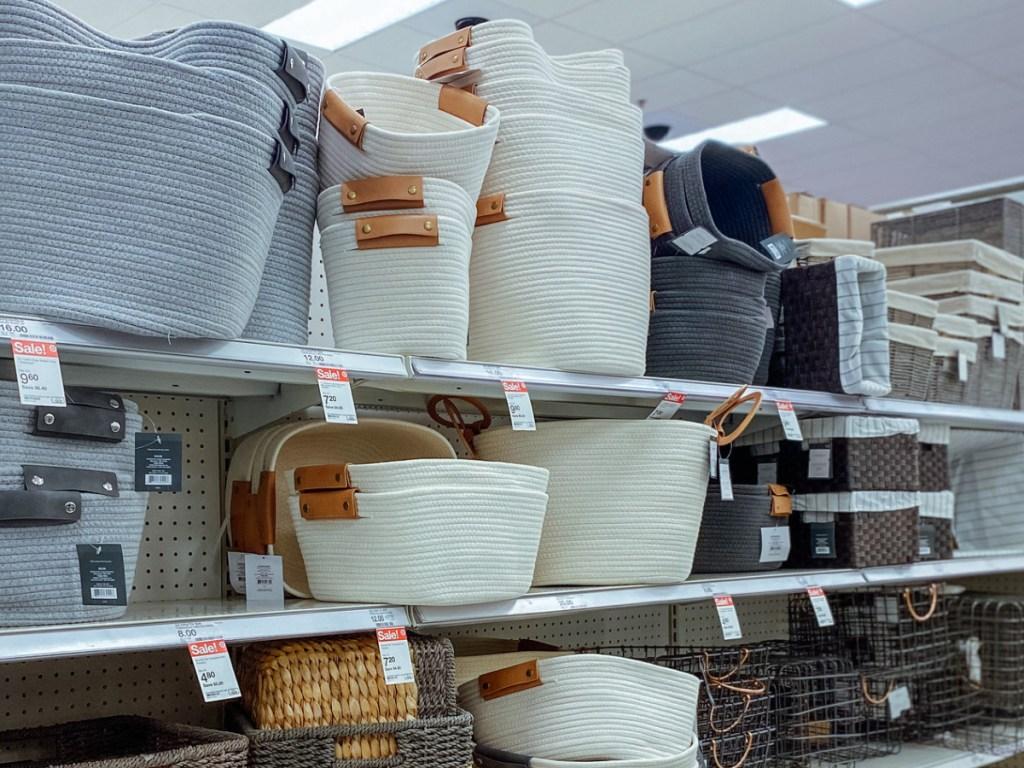 target decorative storage baskets on target store shelves