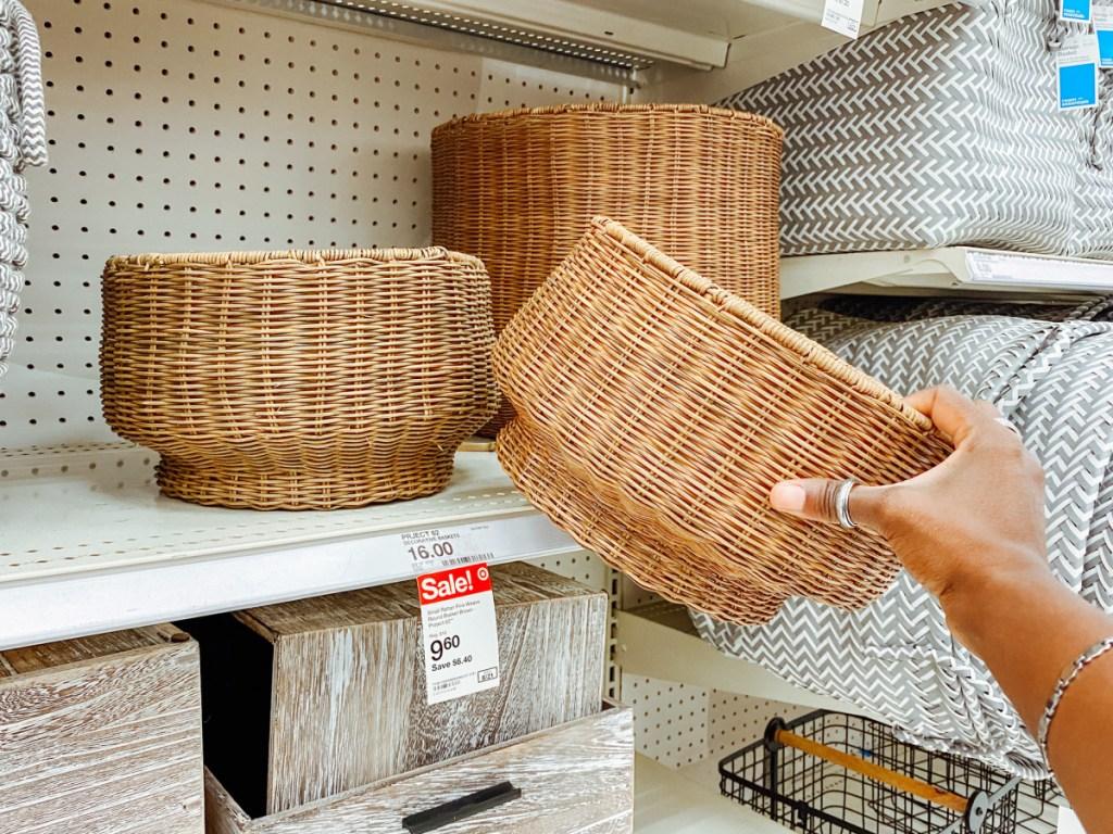 small rattan storage basket at target