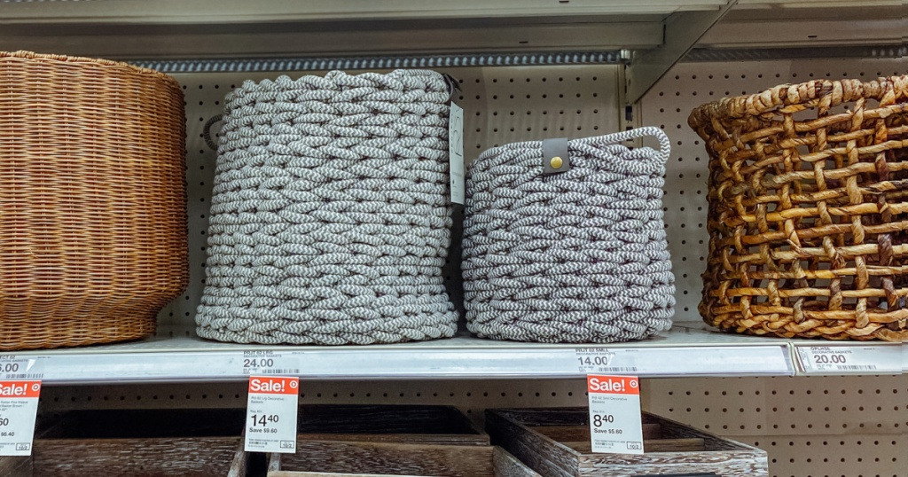 storage baskets on target store shelf