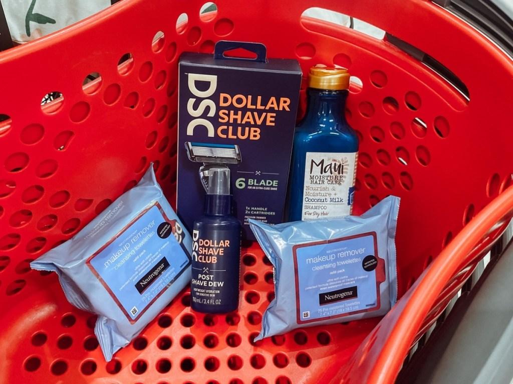 dollar shave club razors and post shave dew, neutrogena wipes and maui shampoo