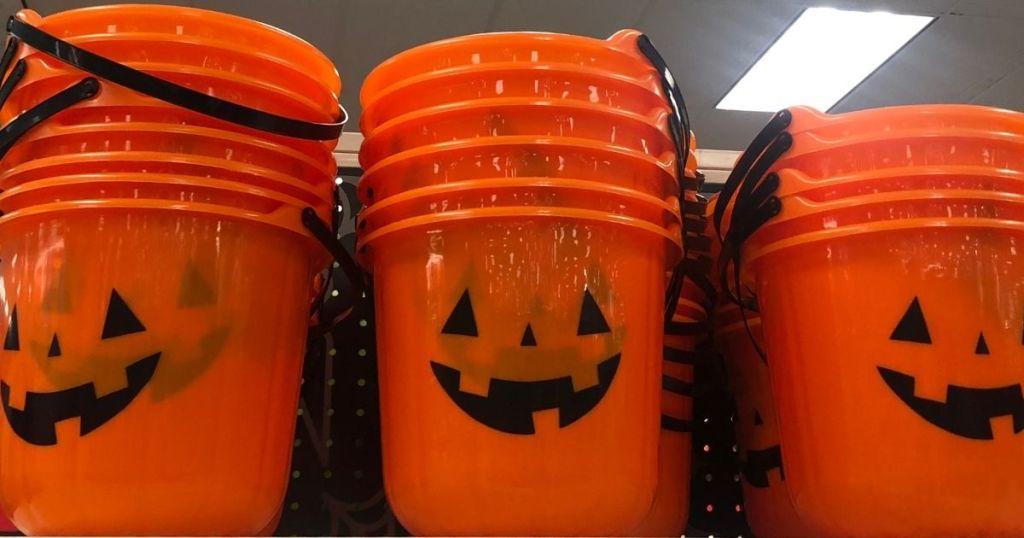 row of Halloween buckets at Target