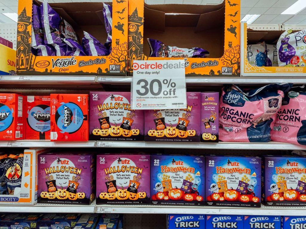 display of Halloween snacks at Target