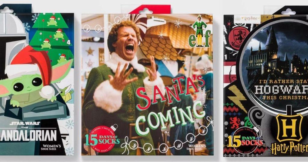 three women's sock advent calendars