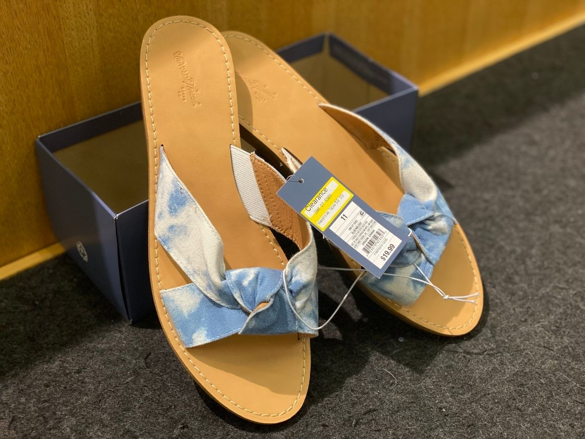 blue tie dye knotted sandals