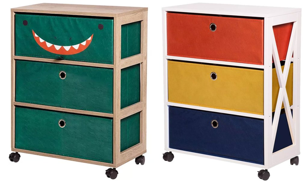 two 3-drawer storage towers