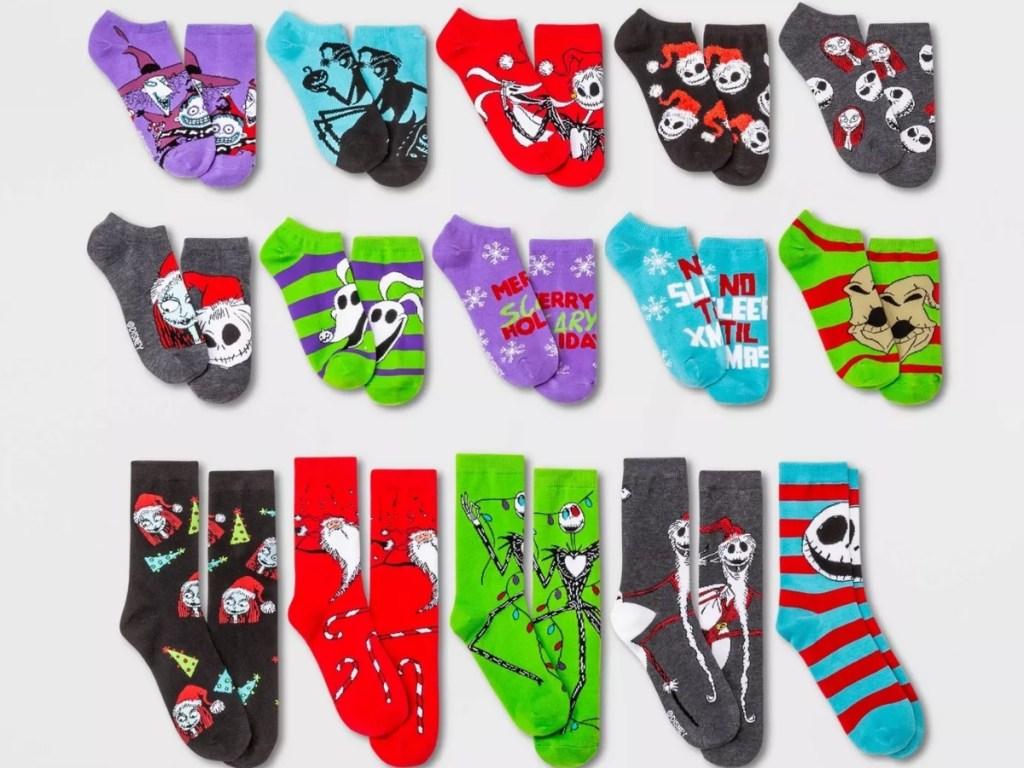 the nightmare before christmas women's 15 days of socks advent calendar