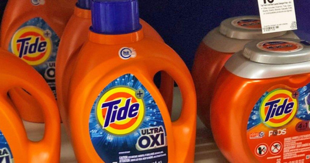 tide ultra oxi detergent on store shelf