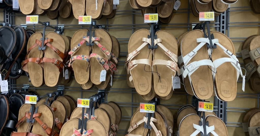 time and tru sandals hanging in store