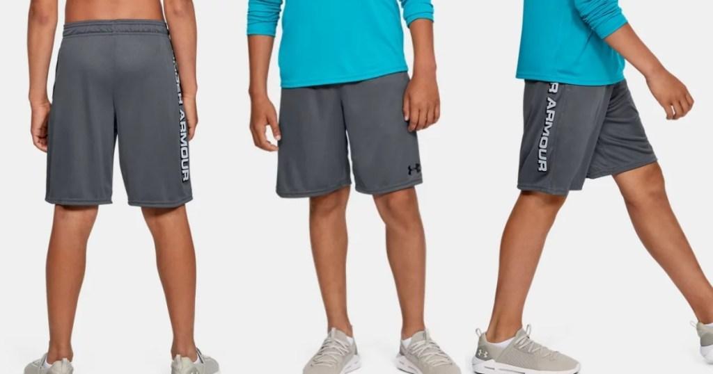under armour gray wordmark shorts for boys
