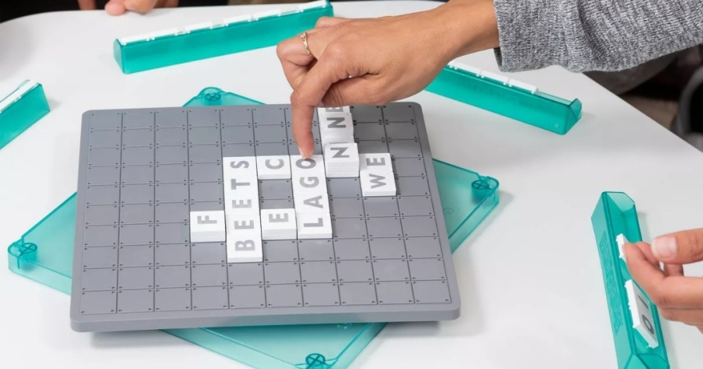 upwords board game with tiles and board