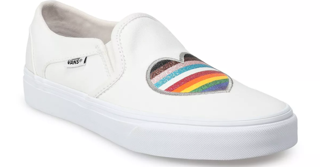 white sneakers with a rainbow heart