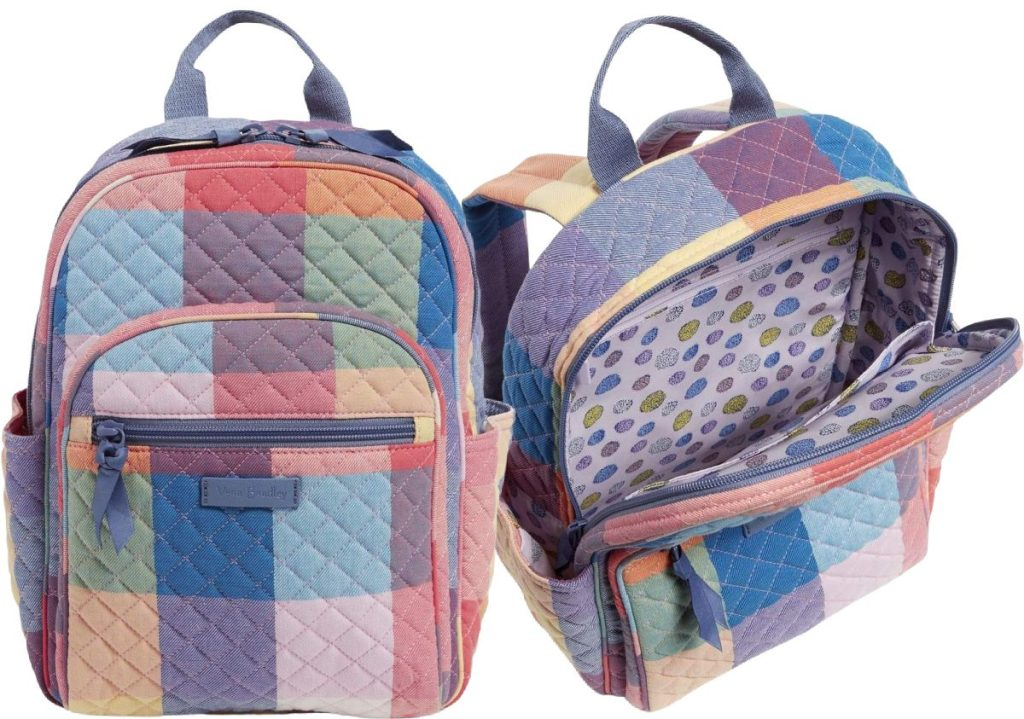 multi-colored plaid backpack and open backpack