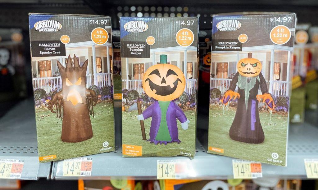 row of Walmart Halloween Inflatable boxes