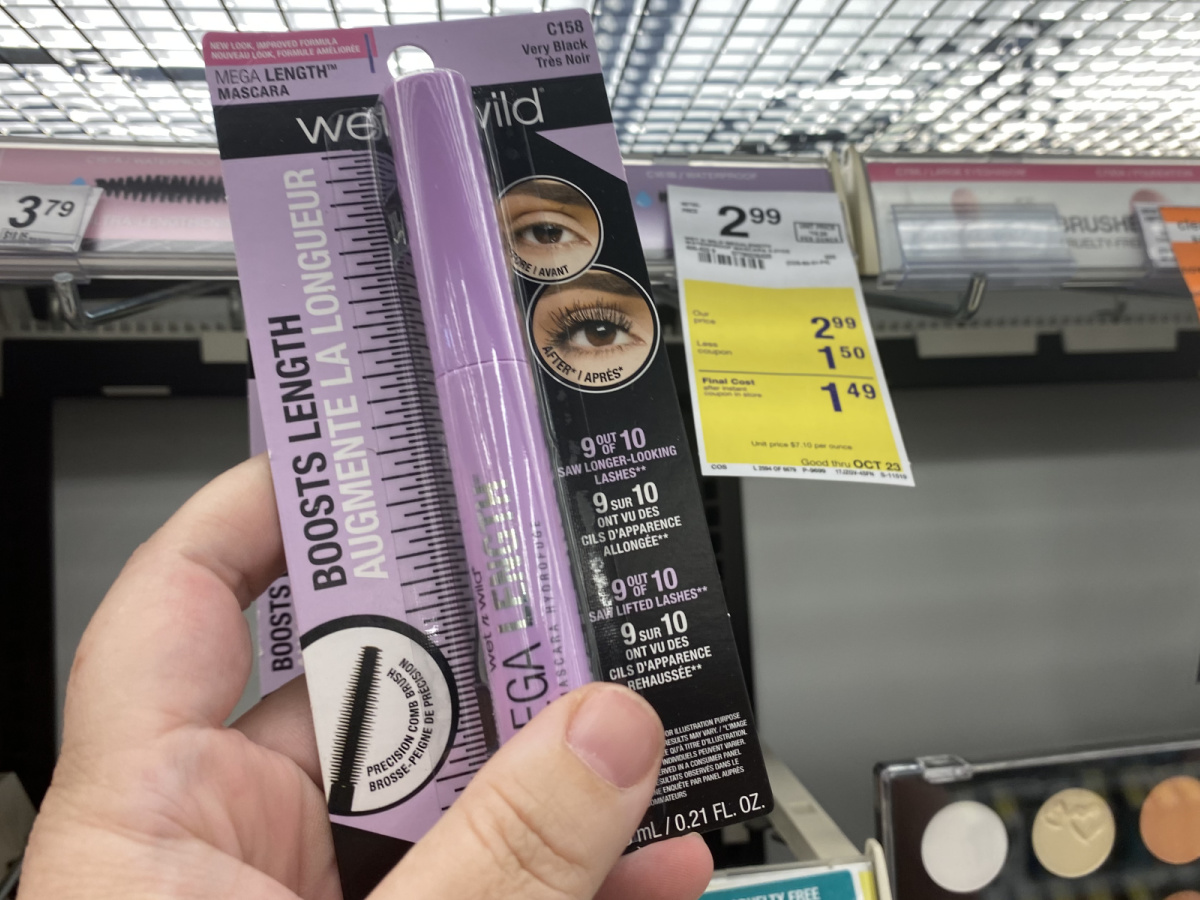 Wet N Wild Mascara being held up next to tag in store