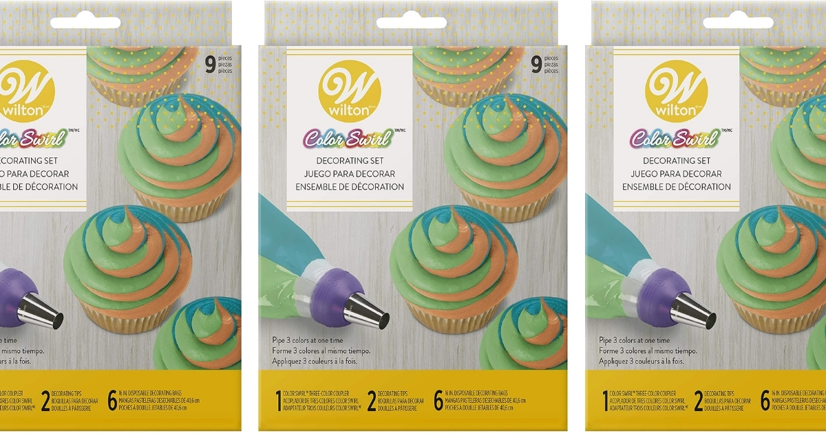 Wilton Color Swirl 3-Color Piping Bag w/ 9-Piece Cake Decorating Kit