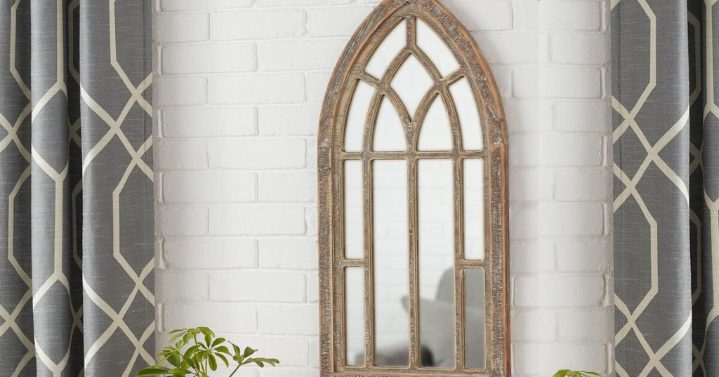 StyleWell Medium Arched Natural Wood Windowpane Antiqued Farmhouse Accent Mirror
