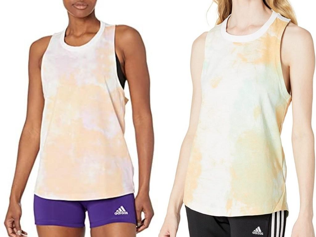 two women wearing adidas summer tank tops
