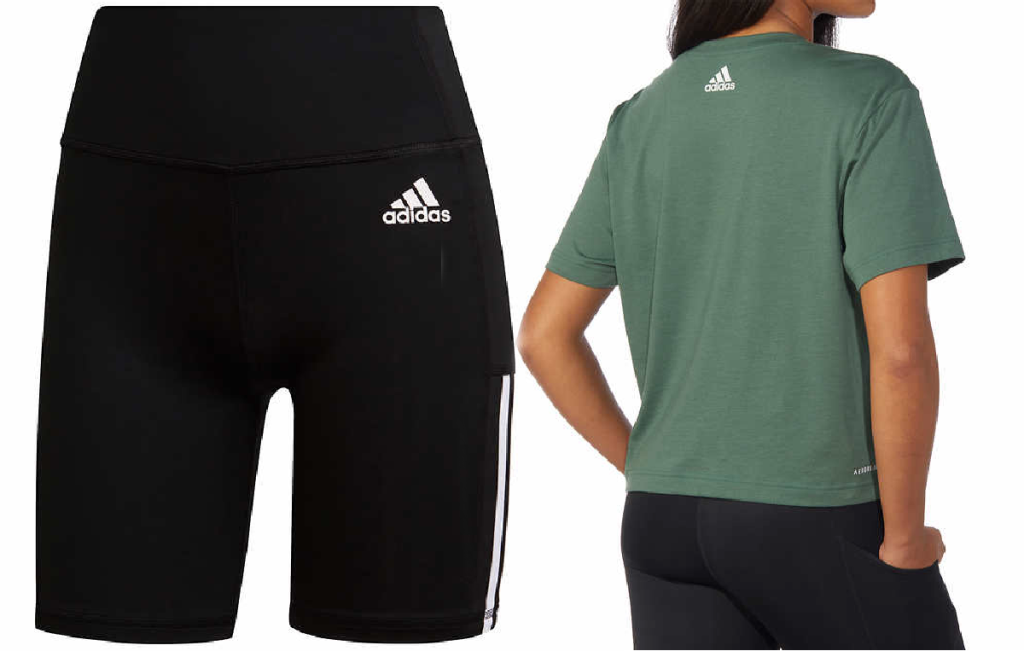 black bike shorts and woman showing back of green tee