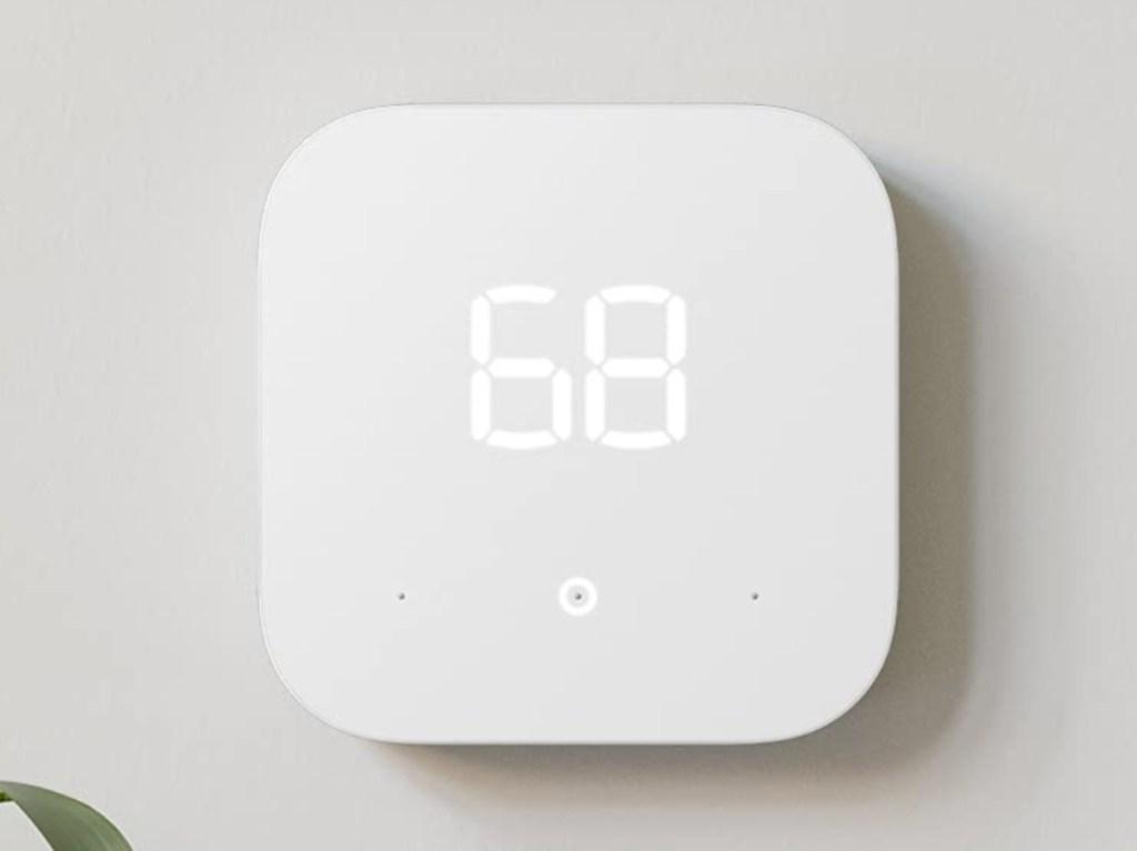 Amazon smart thermostat on wall