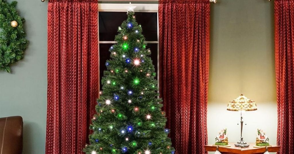 artificial Christmas tree in living room